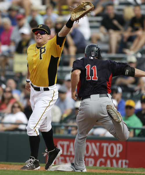 Minnesota Twins right fielder Clete Thomas (11) safely beats the tag of Pittsburgh Pirates first baseman Matthew Curry in the ninth inning of an exhibition spring training baseball game, Saturday, March 9, 2013 in Bradenton, Fla. (AP Photo/Carlos Osorio)