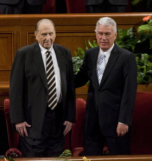 Jeremy Harmon  |  The Salt Lake Tribune  President Thomas S. Monson is flanked by his counselors, Henry B. Eyring and Dieter F. Uchtdorf, arrives at conference during a congregational hymn during the 181st Semiannual General Conference of The Church of Jesus Christ of Latter-day Saints in Salt Lake City on Saturday, Oct. 1, 2011. Monson announced a number of new temples including the repurposing of the Provo Tabernacle as a temple.