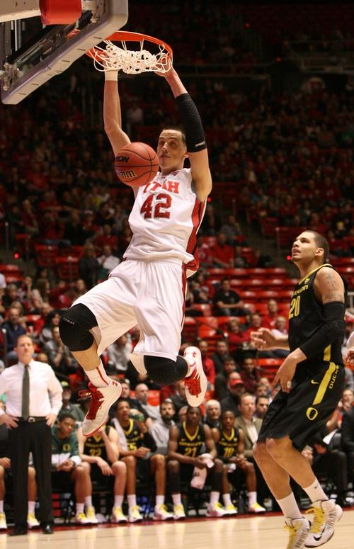 Leah Hogsten     The Salt Lake Tribune  Utah Utes center Jason Washburn (42) had 20 points and 13 rebounds. University of Utah defeated Oregon 72-62  Saturday, March 9, 2013 at the Jon M. Huntsman Center.