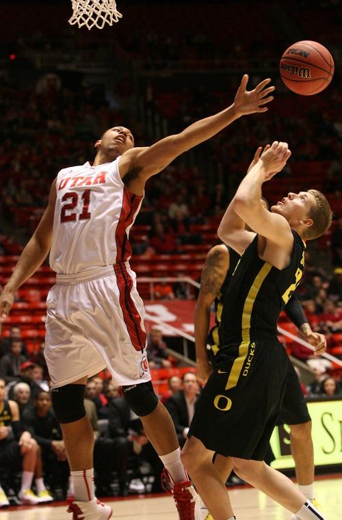 Leah Hogsten     The Salt Lake Tribune Utah Utes forward Jordan Loveridge (21) had 14 points and 7 rebounds.  University of Utah defeated Oregon 72-62  Saturday, March 9, 2013 at the Jon M. Huntsman Center.