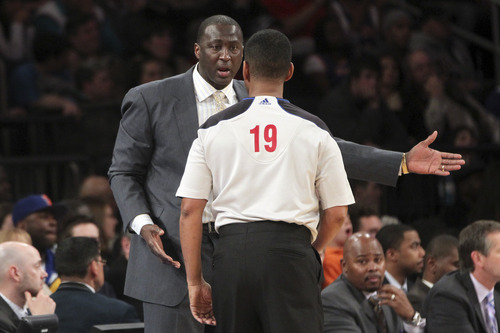 Utah Jazz head coach Tyrone Corbin argues with referee James Capers during the first half of an NBA basketball game, Saturday, March 9, 2013, at Madison Square Garden in New York. The Knicks won 113-84. (AP Photo/Mary Altaffer)