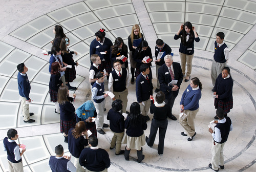 Al Hartmann     The Salt Lake Tribune The Utah State Capitol's upcoming 100th anniversary is being celebrated with new displays. Students on a field trip from American Preparatory Academy in West Valley City take a tour of the Rotunda Tuesday March 5.