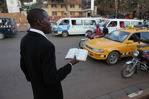 "Courtesy photo A street preacher in Kampala, in a scene from the documentary ""God Loves Uganda,"" which was part of the 2013 Sundance Film Festival. It will screen at the Sundance London Film and Music Festival."