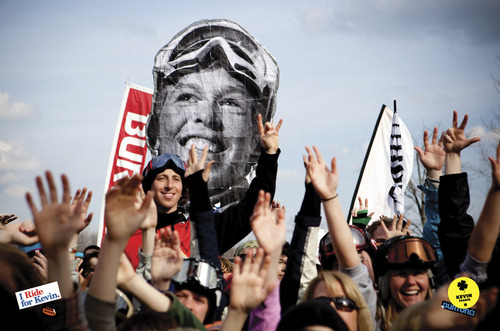 """Fans celebrate snowboarder Kevin Pearce in a scene from the documentary """"The Crash Reel,"""" one of the Documentary Premieres titles at the 2013 Sundance Film Festival. Courtesy Adam Moran  
