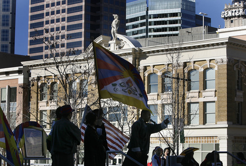 Scott Sommerdorf  |  The Salt Lake Tribune Speaker addresses the Tibetan community of Utah as people observed the 54th worldwide commemoration of National Tibetan Uprising Day at the Wallace Bennett Federal Building, Sunday, March 10, 2013. On this date in 1959, tens of thousands of Tibetans took to the streets of Lhasa, Tibet's capital, rising up against China's illegal invasion and occupation of their homeland.