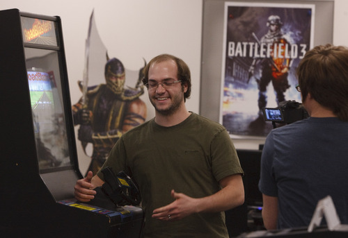 Leah Hogsten  |  The Salt Lake Tribune Troy Johnson is videoed recently for the gaming teams UBI Software convention meet and greet.