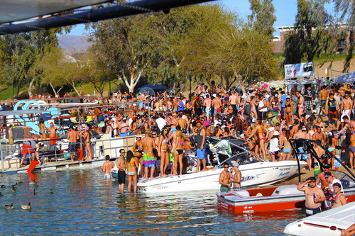 Lake Havasu and London Bridge Resort, shown here, became a big spring break destination in the mid-1990s after MTV profiled the small community on one of its spring break specials. Since then, the city, which is hugged by the Colorado River at the Arizona-California border, has been actively promoting itself as a destination hotspot for spring breakers. Courtesy image