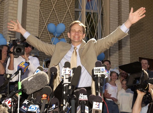 Trent Nelson  |  The Salt Lake Tribune  Ed Smart celebrates as speaks with reporters in front of the Federal Heights LDS Chapel the day after his daughter was found safe and alive in March, 2003.