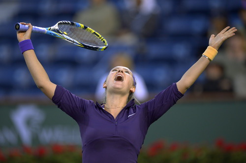 Victoria Azarenka, of Belarus, reacts to losing a point to Daniela Hantuchova, of Slovakia, at the BNP Paribas Open tennis tournament, Saturday, March 9, 2013, in Indian Wells, Calif. (AP Photo/Mark J. Terrill)