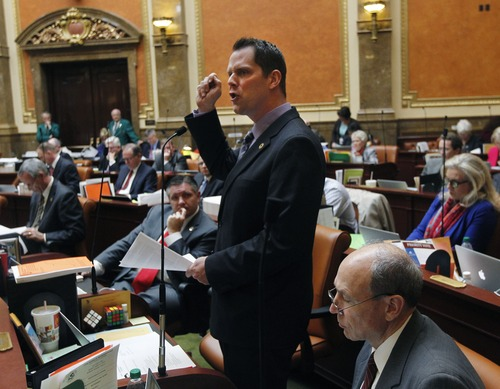 Al Hartmann  |  The Salt Lake Tribune Rep. Jacob Anderegg, R-Lehi, sponsor of HB391S2, Prohibition of Medicaid Expansion speaks for the bill's passage in the Utah House of Representatives Monday March 11.