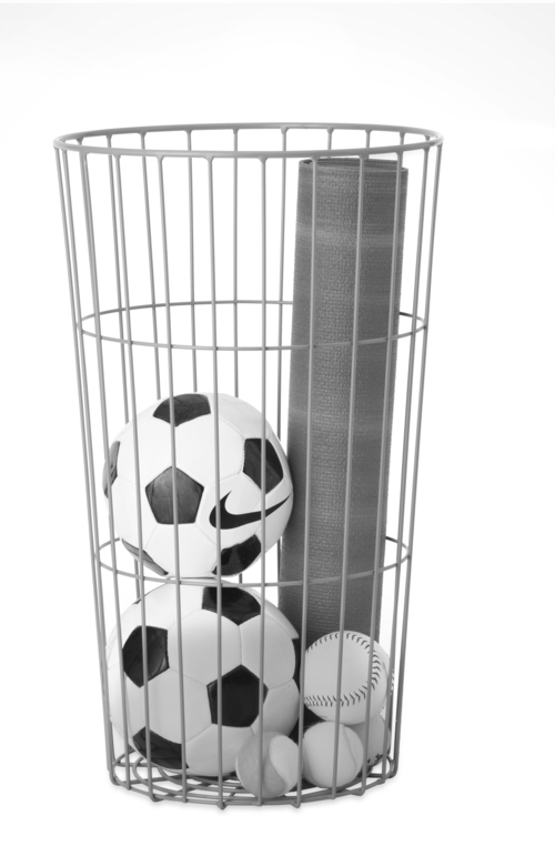 | Good Housekeeping Put sports equipment into a big wire basket for easy access as the kids head out the door.