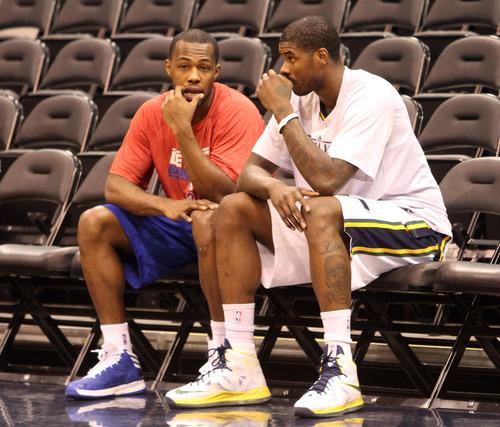 Rick Egan    The Salt Lake Tribune   Rodney Stuckey visits with Utah Jazz power forward Marvin Williams (2) during warm ups before the Jazz met the Pistons, at the EnergySolutions Arena, Monday, March 11, 2013.