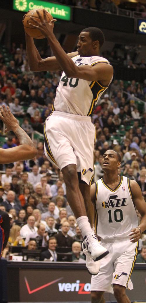Rick Egan    The Salt Lake Tribune   Utah Jazz small forward Jeremy Evans (40) leaps high to grab a rebound, in NBA action, Utah vs. Detroit, at the EnergySolutions Arena, Monday, March 11, 2013.