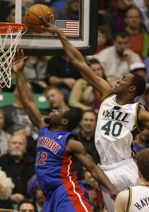 Rick Egan    The Salt Lake Tribune   Detroit Pistons point guard Will Bynum (12) takes a shot, as Utah Jazz small forward Jeremy Evans (40) goes for a block, in NBA action, Utah vs. Detroit, at the EnergySolutions Arena, Monday, March 11, 2013.