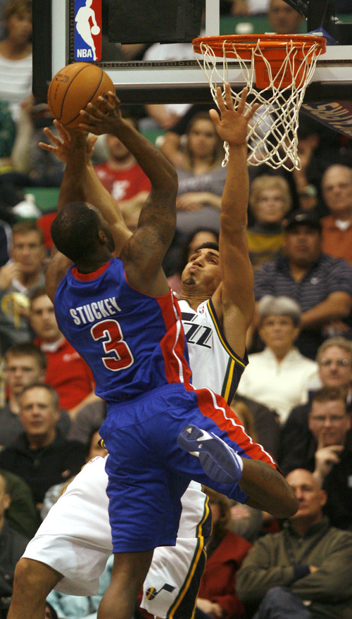 Rick Egan    The Salt Lake Tribune   Detroit Pistons point guard Rodney Stuckey (3) takes a shot, as Utah Jazz center Enes Kanter (0) defends in NBA action, Utah vs. Detroit, at the EnergySolutions Arena, Monday, March 11, 2013.