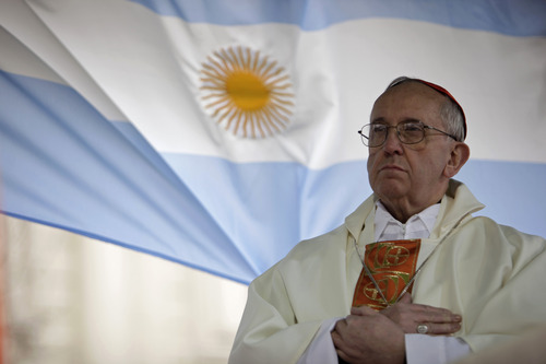 FILE - This Aug. 7, 2009 file photo shows Argentina's Cardinal Jorge Bergoglio giving a mass outside the San Cayetano church in Buenos Aires. Bergoglio, who took the name of Pope Francis,  was elected on Wednesday, March 13, 2013 the 266th pontiff of the Roman Catholic Church.  (AP Photo/Natacha Pisarenko, files)