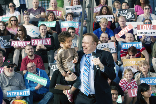 Steve Griffin | The Salt Lake Tribune   Sen. Jim Dabakis, D-Salt Lake, holds two-year-old, Xander Clark, as he speaks during a rally, sponsored by Equality Utah, supporting SB262, a bill prohibiting discrimination on the basis of sexual orientation and gender identity. Dabakis told supporters that both of Xander's parents: Weston Clark and partner Brandon Mark , deserve to be treated equally. Equality Utah was joined by members of the LGBT community as well as Kol Ami, NAACP, La Raza and Mormons Building Bridges during the event at the Capitol in Salt Lake City, Utah Wednesday March 13, 2013.