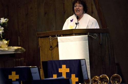 Djamila Grossman  |  The Salt Lake Tribune  Pastor Marti Zimmerman leads her congregation in the Easter Sunday Service at Christ United Methodist Church in Salt Lake City, Utah, on Sunday, April 24, 2011.