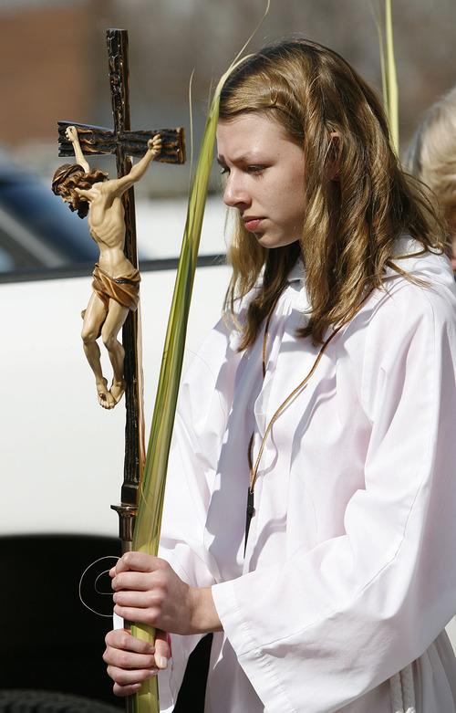 Scott Sommerdorf  |  Salt Lake Tribune Saint Ambrose Catholic Church celebrates Palm Sunday in 2010.