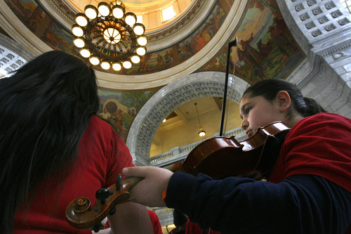 Scott Sommerdorf   |  The Salt Lake Tribune Violin students from Jackson Elementary of Rose Park performed in the Capitol rotunda at Latino Day at the Utah Capitol, Wednesday, March 13, 2013.