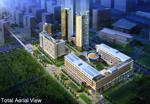 Rendering of total aerial view of  Songdo Global University. Courtesy image.