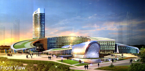 Rendering of front view of Songdo Global University. Courtesy image