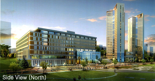 Rendering of Side View (North) of  Songdo Global University. Courtesy image.