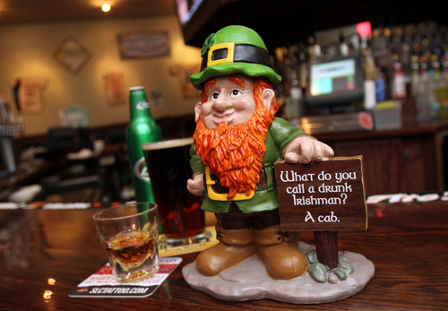 Francisco Kjolseth  |  The Salt Lake Tribune The Utah Highway Patrol is partnering with dozens of bars across the Wasatch Front including Lumpy's, to unveil Leprechauns Against Drunk Driving, to remind patrons about safe, alcohol-free driving for the St. Patrick's Day weekend. Bars will display leprechaun statuettes and servers will be wearing green T-shirts bearing the Leprechauns Against Drunk Driving message.