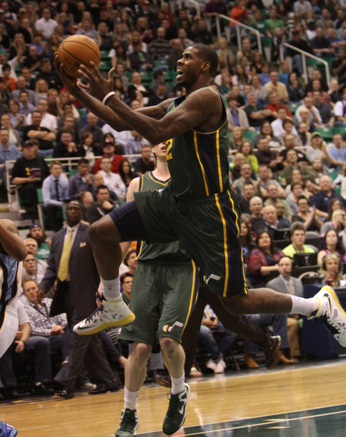 Rick Egan  | The Salt Lake Tribune   Utah Jazz power forward Marvin Williams (2) goes in for two points, in NBA action, The Utah Jazz vs. The Memphis Grizzlies at EnergySolutions Arena, Saturday, March 16, 2013.