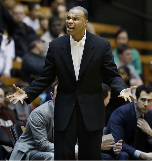 Harvard head coach Tommy Amaker reacts to play during the second half of an NCAA college basketball game against Princeton, Friday, March 1, 2013, in Princeton, N.J. Princeton won 58-53. (AP Photo/Mel Evans)