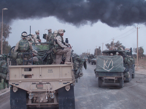 Fox Company, 2nd Battalion, 23rd Marines rolls into Baghdad, Iraq on April 8, 2003.