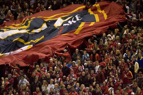 Steve Griffin  |  The Salt Lake Tribune  Fans unfurl a giant RSL flag as Real Salt Lake faces CF Monterrey at RioTinto Stadium Wednesday, April 27, 2011