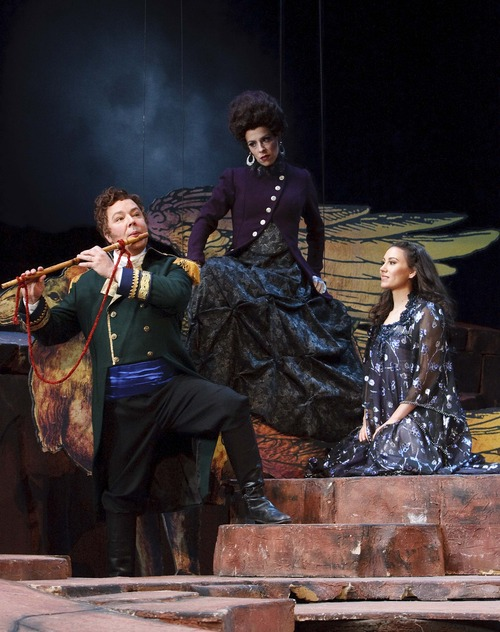 "Leah Hogsten  |  The Salt Lake Tribune Utah Opera's production of Mozart's ""The Magic Flute"" features Robert Breault as Tamino, Audrey Luna as the Queen of the Night and Anya Matanovic as Pamina."