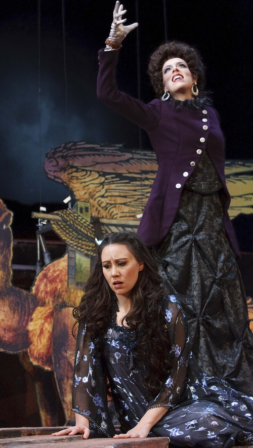 "Leah Hogsten  |  The Salt Lake Tribune The Queen of the Night (Audrey Luna) issues a cruel ultimatum to her daughter, Pamina (Anya Matanovic), in Utah Opera's production of Mozart's ""The Magic Flute."""