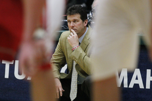New Mexico coach Steve Alford says he'll put his starting five up against anyone in the country. The Lobos open the NCAA Tournament against Harvard Thursday at EnergySolutions Arena in Salt Lake City. (AP Photo/David Zalubowski)