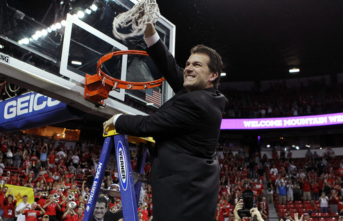 New Mexico coach Steve Alford says he'll put his starting five up against anyone in the country. The Lobos open the NCAA Tournament against Harvard Thursday at EnergySolutions Arena in Salt Lake City. (AP Photo/Isaac Brekken)
