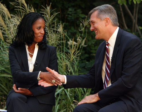 Steve Griffin  |  Tribune file photo GOP challenger Mia Love and Democratic Congressman Jim Matheson shake hands during a television debate in September. Matheson won the election by a whisker and also prevailed in the fundraising contest by a narrow margin.