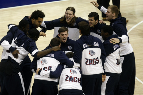 Chris Detrick  |  The Salt Lake Tribune Gonzaga Bulldogs cheer before the game at the Marriott Center Thursday February 28, 2013. Gonzaga is winning the game 35-31 at halftime.