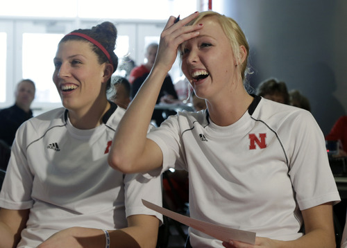 Nebraska's Jordan Hooper, left, and Emily Cady react in Lincoln, Neb., Monday, March 18, 2013, after learning they will play Chattanooga in the first round of the NCAA women's basketball tournament on Saturday in College Station, Texas. (AP Photo/Nati Harnik)