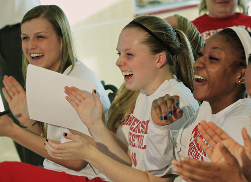 From left, Nebraska's Courtney Aitken, Lindsey Moore and Tear'a Laudermill react after learning their NCAA college basketball tournament assignment, Monday, March 18, 2013, in Lincoln, Neb. Nebraska is scheduled to face Chattanooga in a first-round game Saturday in College Station, Texas. (AP Photo/Nati Harnik)