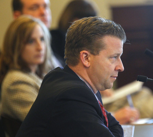 Al Hartmann  |  The Salt Lake Tribune Sen. Todd Weiler, R-Woods Cross sponsor of SB83 speaks in the Senate Government Operations and Political Subdivisions Committee Tuesday February 26.  The biil would set limits on outside employment of elected and appointed state officials.