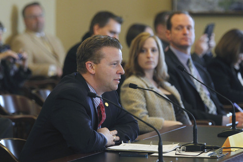 Al Hartmann  |  The Salt Lake Tribune Sen. Todd Weiler, R-Woods Cross sponsor of SB83 speaks in the Senate Government Operations and Political Subdivisions Committee Tuesday February 26.  The bill would set limits on outside employment of elected and appointed state officials.