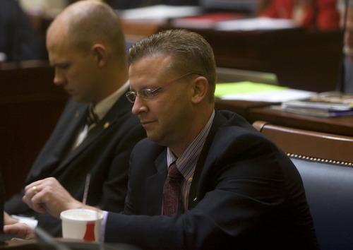 Al Hartmann  |  The Salt Lake Tribune New member of the Utah Senate Todd Weiler of Woods Cross on the first day of the 2012 legislative session.