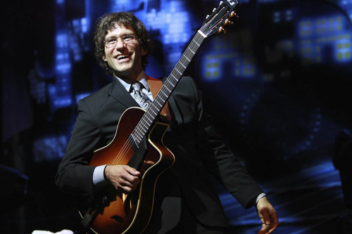 "Four of America's best jazz guitarists, including Frank Vignola, will converge in Salt Lake City on Saturday March 23 for the ""Guitar Masters Summit."" Source: Frank Vignola"