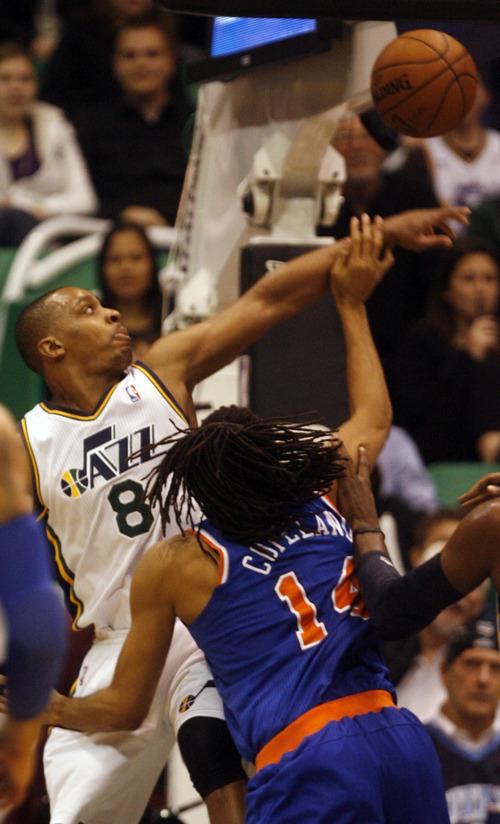 Rick Egan  | The Salt Lake Tribune   Utah Jazz point guard Randy Foye (8) defends as New York Knicks small forward Chris Copeland (14) takes a shot, in NBA action, Utah Jazz vs. The New York Knick's, at Energy Solutions Arena, Monday, March 18, 2013.
