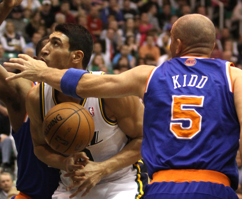 Rick Egan  | The Salt Lake Tribune   Utah Jazz center Enes Kanter (0) has the ball stripped from his hands by New York Knicks point guard Jason Kidd (5) during a game Monday, March 18, 2013 in Salt Lake City.
