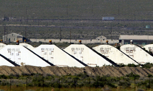 FILE - This May 20, 2005 file photo shows storage bunkers at  the U.S. Army Depot in Hawthorne, Nev.  Seven Marines from a North Carolina unit were killed and several injured in a training accident at the Hawthorne Army Depot, the Marine Corps said Tuesday, March 19, 2013.  The cause of the accident, that occurred shortly before 10 p.m. PST, Monday, March 18,  is under investigation, officials said in a statement from the 2nd Marine Expeditionary Force at Camp LeJeune, N.C.  The Hawthorne Army Depot stores and disposes of ammunition. The facility is made up of hundreds of buildings spread over more than 230 square miles.  (AP Photo/Joe Cavaretta, File)