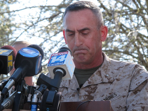 Marine Brig. Gen. Jim Lukeman address the media outside the gates of Camp Lejeune, N.C., on Tuesday, March 19, 2013. Seven Marines from the base were killed in a mortar accident in Nevada Monday night. (AP Photo/Allen Breed)