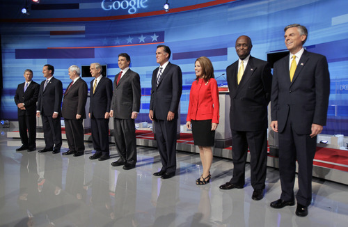 Republican presidential candidate Gary Johnson, far left, is a University of New Mexico grad. (AP Photo/John Raoux)