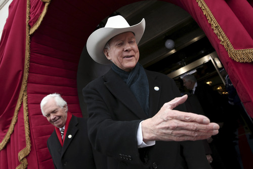 Sen. Orrin Hatch, R-Utah, arrives for the ceremonial swearing-in ceremony for President Barack Obama during the 57th Presidential Inauguration in January. Hatch has a rooting interest in the NCAA tourney games in Salt Lake -- he's a Pitt grad.  (AP Photo/Win McNamee, Pool)